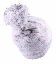 Bench Womens Chasse Cream Pink Cable Knit Poly Bobble Pom Beanie Winter Hat NWT image 2