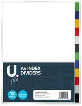 10 x A4 Index Dividers 12 Pack Mixed File Folder Tough Organised Planner... - $21.98