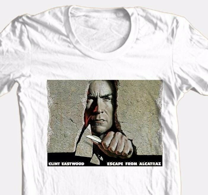 Escape from Alcatraz T-shirt Clint Eastwood retro Dirty Harry 100% cotton tee