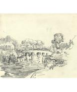 Marcus Adams - Early 20th Century Graphite Drawing, Bridge - $16.96