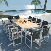 "vidaXL Outdoor Dining Set 13 pieces WPC 86.6""x39.4x28.3"" Patio Table and... - €545,55 EUR"