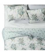 Simply Shabby Chic Aqua Rose Twin Duvet Set Cotton Cottage Floral Blue - $59.39