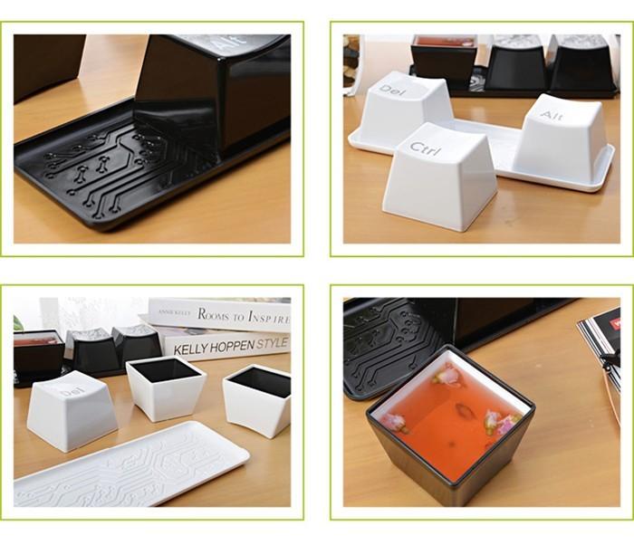 3pcs/Set Novelty Creative Simple Keyboard Ctrl ALT DEL Type Tea Coffee Mug Cup