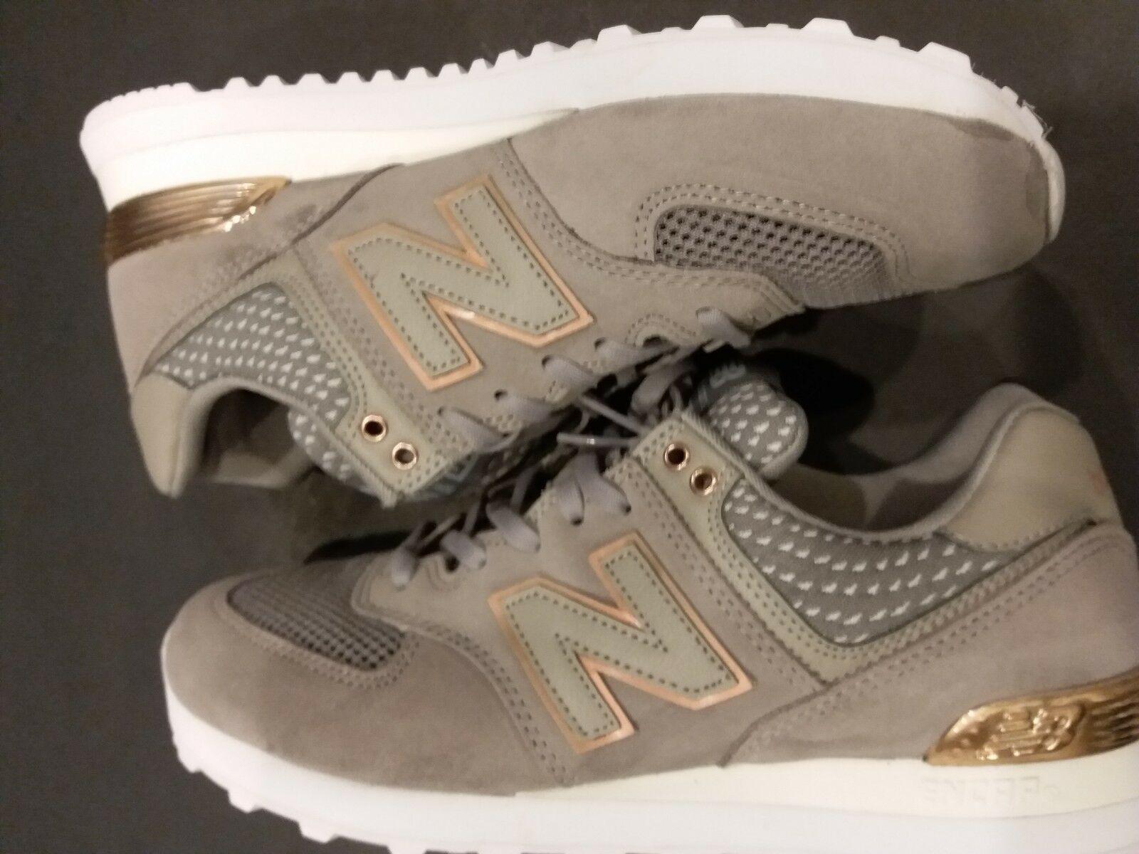 New Balance 574 Women Grey White Gold Bronze Lifestyle Sneakers WL574-FSC SZ-9