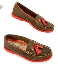 Sperry Top-Sider Boat Shoes Nubuck Leather Tassel Brown Orange Women's 6.5M - $19.99