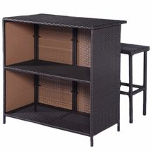 3-Pc Outdoor Rattan Wicker Bar Set Patio Furniture Backyard Table & 2 Stools NEW image 4