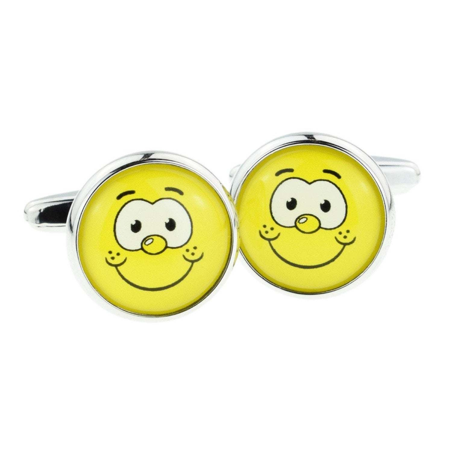 funny smiley yellow facedcuff link design . gift boxed cufflinks ideal gift