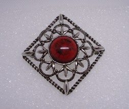 Vintage Sarah Coventry Silvertone Inca Fire Pin Brooch - $15.00