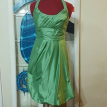 David's Bridal Size 2 Green Halter top Bubble hem Cocktail Dress bridesm... - $19.00