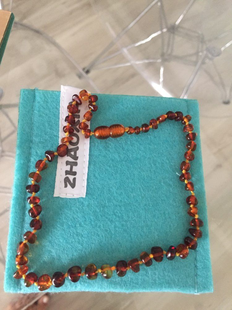 Baltic Amber Authentic Necklace for Baby (Cognac) Handmade in Lithuania 5 sizes