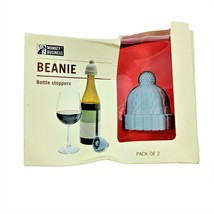 Beanie Wine Bottle Stoppers Pack of 2 Damage Box Blue Grey Monkey Business - $14.89