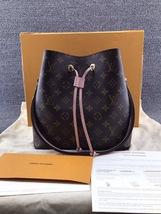 100% Authentic Louis Vuitton Monogram Neonoe Bucket Bag Pink Receipt Mint image 3