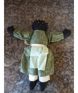 "African American Black Americana Handmade Doll 13"" Green Dress Apron - $15.00"