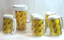 Vintage Thermo Serv Pitcher Mug Set Tombstone Pizza 5 Mugs - $29.65