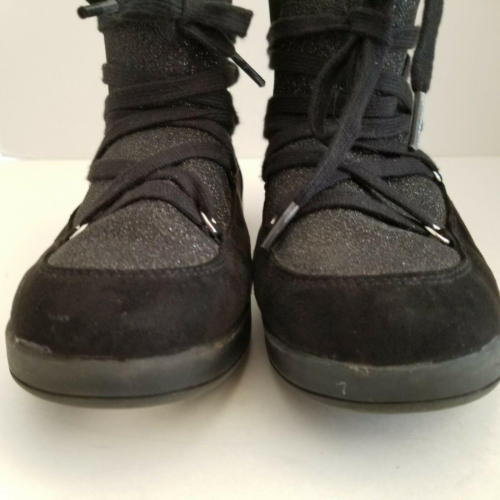 c48621685c0f Airwalk Pixie Ankle Boots GIrls 6 Black Glittery Upper Suede Trim Fur Lined