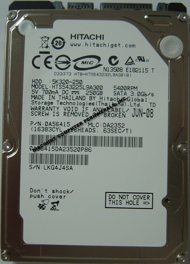 "NEW 250GB Hitachi SATA II 2.5"" 9.5mm hard drive HTS543225L9A300 Free US Shipping"