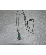 Estate 925 Marked Silver Chain with Dainty Green Stone Teardrop in Ornat... - $13.99