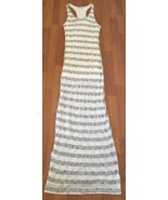 Bella Luxx Maxi Dress Size Medium Black White Knit Striped Racerback Slit - $24.75
