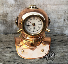 Vintage Home Clock Decor Scuba Diving Helmet Maritime Shelf Clocks Desk Office D - $56.53