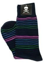 Lord R Colton Men's Navy Pink Striped Cotton Dress Socks - $28 Retail - New - $13.49