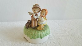 Vintage Lefton China Hand Painted Music Box Boy Plays Flute Girl Holds a Bunny - $19.99