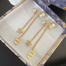 AUTH Christian Dior 2020 GOLD CRYSTAL J'ADIOR DANGLE STAR PEARL EARRINGS  image 5