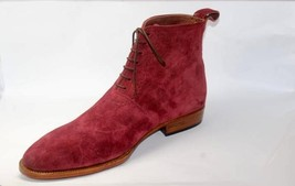 Handmade Men's Burgundy Color Suede Two Tone High Ankle Lace Up Suede Boots image 1