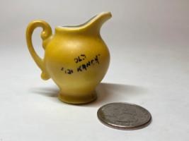 "VTG Ceramic Miniature Pitcher/Vase w/Handle 1.5"" X 2"" Yellow Black ""Old Ranch 13 - $7.87"