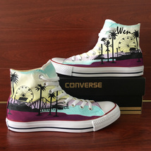 USA California Los Angeles Santa Monica Design Hand Painted Converse All... - $155.00