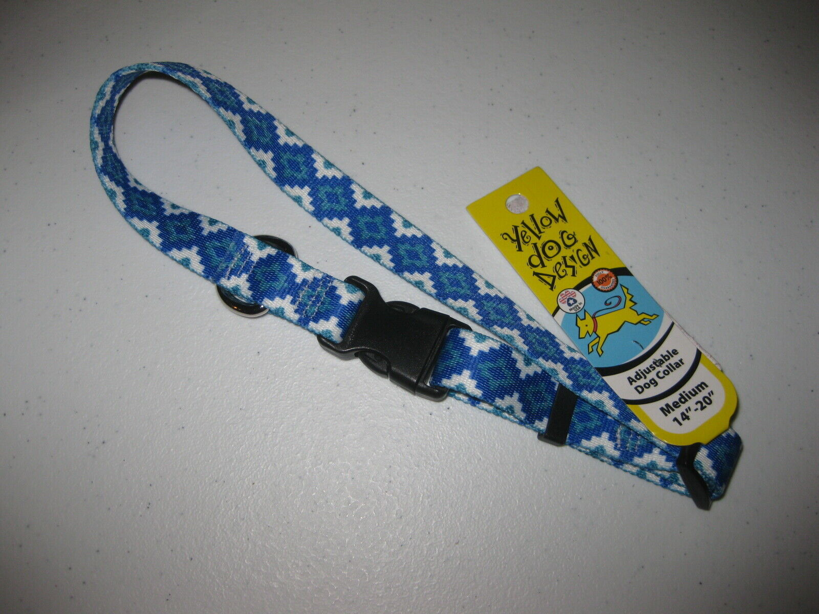 "Blue Aztec Storm Adjustable Medium Dog Collar (14""-20"") by Yellow Dog Design - $11.87"
