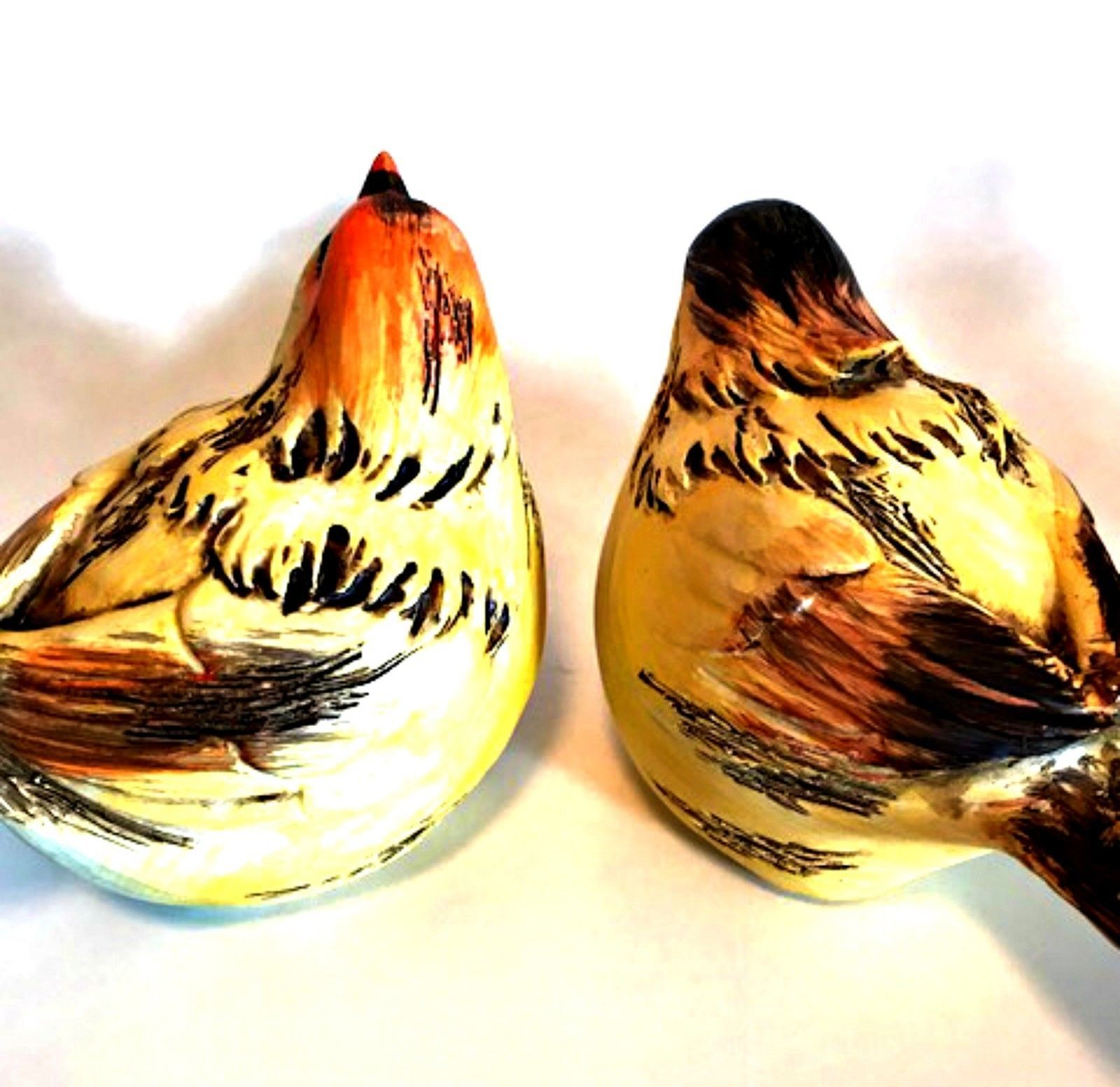 Bird Figurines Wood Look Pair Detailed Wild Birds Beige Brown Orange 6 inches