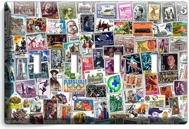 OLD POST STAMPS COLLECTION PHILATELY 4 GANG LIGHT SWITCH WALL PLATES ROO... - $19.99