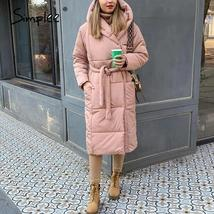 Women's New High Street Solid Hooded Full Length Quilted Parka Coat image 7