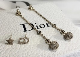 NEW AUTH Christian Dior 2019 LA PETITE TRIBALE EARRINGS CD CRYSTAL Pearl Dangle  image 2