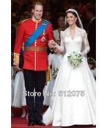 Princess Kate Middleton Wedding Dress Luxuriant Court Train Lace Up Dress - $298.00