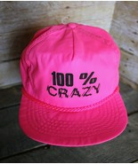 1980s Vintage 100% CRAZY Retro Neon Snapback Trucker Hat Nylon Ball Cap ... - $33.85