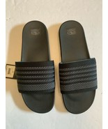 Men tunnel slides sandals black fabric upper comfort footbed lightweight... - $12.50