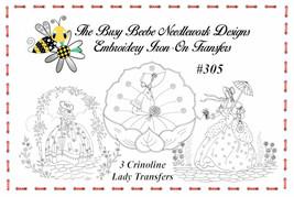 #305 - 3 Crinoline Ladies Lady Garden Gal Belle Embroidery Iron-On Transfers - $9.89