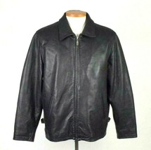 Jim & Marylou Heavy Pebbled Black Leather Bomber Jacket Moto Field Coat ... - $34.64