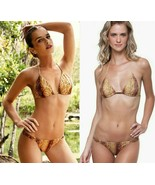 Vix Guarani Cacica Triangle Top & Faux Leather Side Bottom Swimsuit Biki... - $110.49
