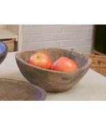 PRIMITIVE ROUND BOWL Treen Farmhouse Resin Country Rustic Decorative Dis... - $44.64