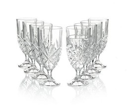 "9 Large Heavy Shannon Dublin Crystal Clear Elongated 7-7/8"" Faceted Goblets - $79.99"