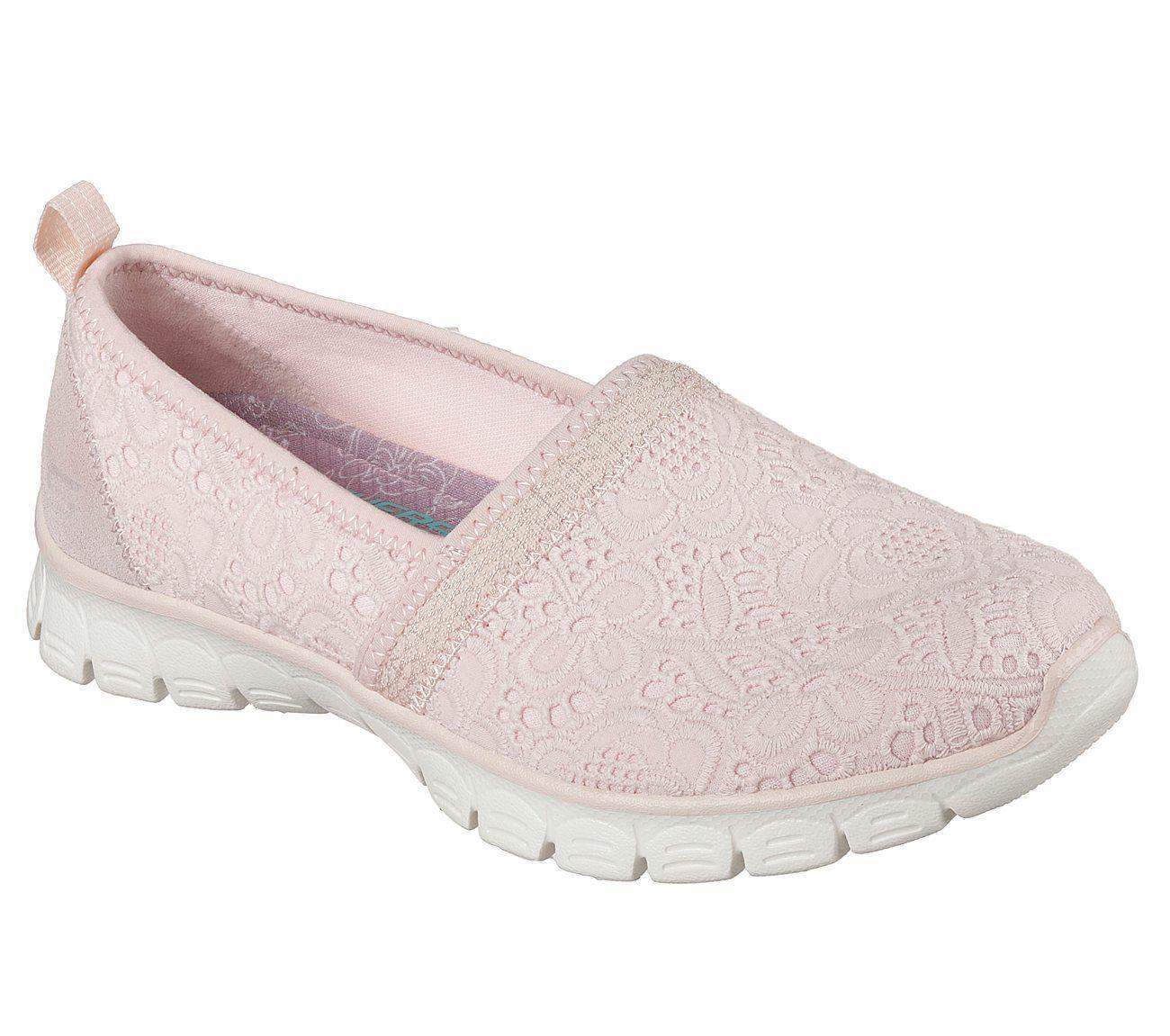 23478 Pink Skechers shoes Memory Foam Women Comfort Casual Slip On Lace Crochet