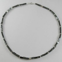 Necklace Giadan Silver 925 Hematite Glossy and 8 Diamonds White Made in ... - $236.27