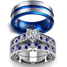 LOVERSRING Couple Ring Bridal Sets His Hers Women 10k White Gold Filled ... - $32.18