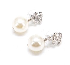 Authentic Chanel Classic Crystal CC Pearl Silver Dangle Drop  Earrings  image 2