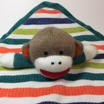 Baby Starters Sock Monkey Lovey Rattle Head Green Striped Security Blank... - $17.99