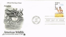 U S First Day Cover 1987 American Wildlife Series Pronghorn Embossed Let... - $1.50