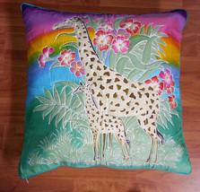 New Handpainted Batik Giraffes Flowers 23X23 Inch Cotton Pillow Cover Bali - $23.38