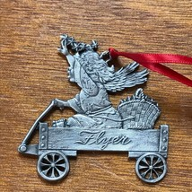 Very Detailed Carved Pewter Girl in Radio Flyer Wagon Christmas Tree Orn... - $10.39